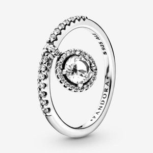 Pandora Dangling Round Sparkle Ring